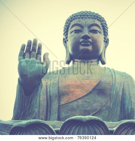 Giant Buddha in Hong Kong.  Instagram style filtred image