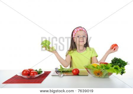 Little Girl With Fresh Vegetables.