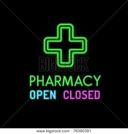 Pharmacy neon sign on black background