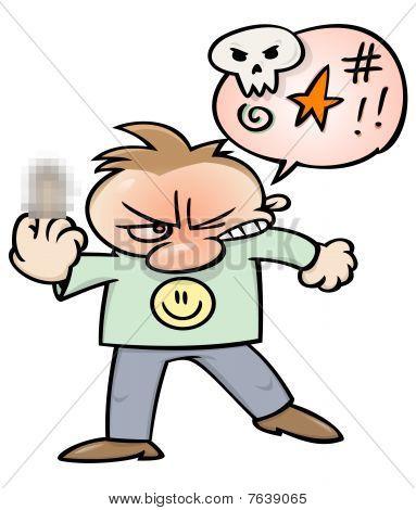 Angry swearing man