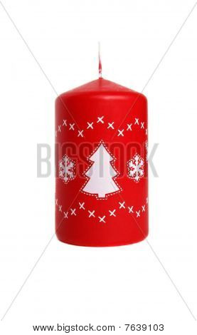 Red Candle With Firtree Isolated