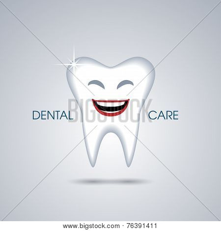 Smiling cartoon tooth isolated on green background