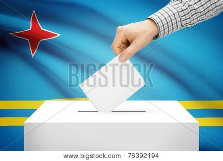 Voting Concept - Ballot Box With National Flag On Background - Aruba