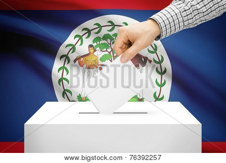 Voting Concept - Ballot Box With National Flag On Background - Belize