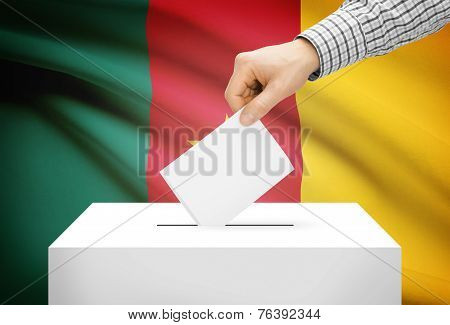 Voting Concept - Ballot Box With National Flag On Background - Cameroon