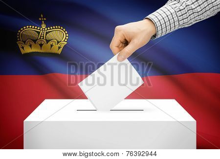 Voting Concept - Ballot Box With National Flag On Background - Liechtenstein