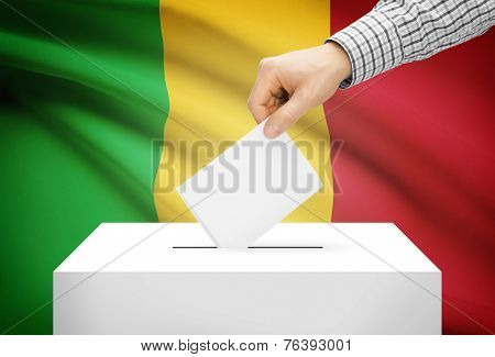 Voting Concept - Ballot Box With National Flag On Background - Mali