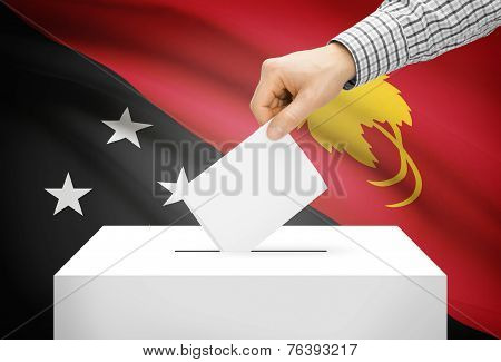 Voting Concept - Ballot Box With National Flag On Background - Papua New Guinea