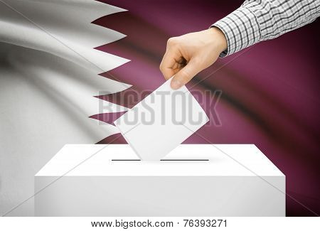 Voting Concept - Ballot Box With National Flag On Background - Qatar