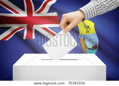 Voting Concept - Ballot Box With National Flag On Background - Saint Helena