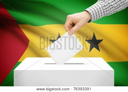 Voting Concept - Ballot Box With National Flag On Background - Sao Tome And Principe