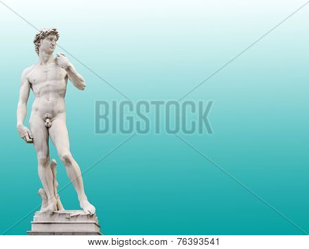 Michelangelo's David. On green background