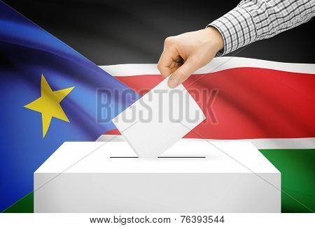 Voting Concept - Ballot Box With National Flag On Background - South Sudan