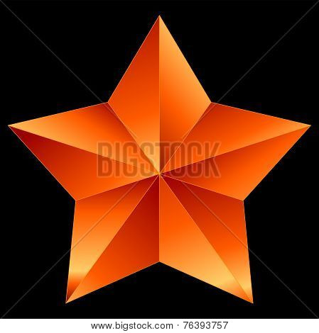 Christmas Star Red Orange Isolated On Black