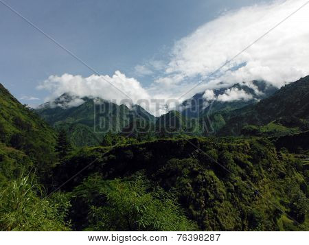 Hilly Green Himalayan Landscape