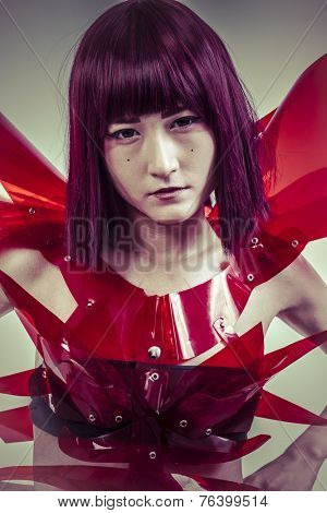 Modern future, Japanese manga-style women dressed in red glass armor