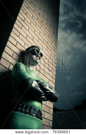 Cool Superhero Leaning To A Brick Wall
