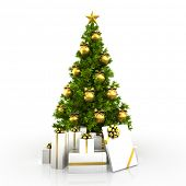 picture of white gold  - Christmas tree with gold decor isolated on white background  - JPG