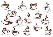 pic of hot-chocolate  - Doodle sketch set in brown and white of steaming hot beverages of coffee and tea in assorted cups - JPG