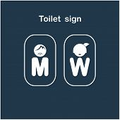 stock photo of peeing  - Man and woman toilet sign  - JPG