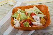 picture of caesar salad  - Caesar salad with chicken and iceberg salad - JPG