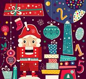 picture of nutcracker  - Christmas vector illustration with Nutcracker and gift boxes - JPG