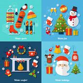 picture of winter-sports  - Winter and christmas flat set with sports fun comfort and holidays isolated vector illustration - JPG