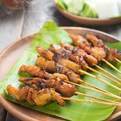 stock photo of sate  - Yummy chicken sate or satay - JPG