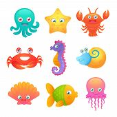 image of creatures  - Cute sea life creatures cartoon animals set with fish octopus jellyfish isolated vector illustration - JPG
