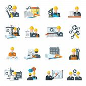 foto of manufacturing  - Engineer construction equipment machine operator managing and manufacturing icons flat set isolated vector illustration - JPG