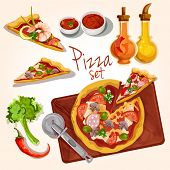 stock photo of hot fresh pizza  - Fresh tasty italian food pizza set with plate ingredients seasoning isolated vector illustration - JPG