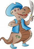 stock photo of pirate sword  - Dinosaur Pirate with Hat and Sword vector illustration - JPG