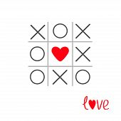 stock photo of tic-tac-toe  - Tic tac toe game with cross and heart sign mark in the center Love card Flat design Vector illustration - JPG