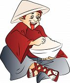 picture of conic  - Vector illustration of excited young man with a bowl of food wearing conical hat - JPG