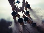 foto of dreamcatcher  - Wooden Dreamcatcher with feathers and beads  - JPG