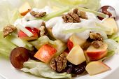 stock photo of walnut  - A traditional Waldorf Salad with lettuce - JPG