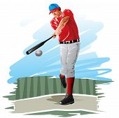 pic of hitter  - Baseball player batter hitting a ball vector illustration - JPG