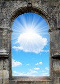 picture of gates heaven  - Gate to heaven in the background sunny sky - JPG