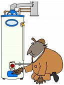 picture of kneeling  - This illustration depicts a service technician kneeling and checking a gas water heater - JPG