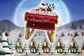 stock photo of quaint  - Santa flying his sleigh against quaint town with bright moon - JPG