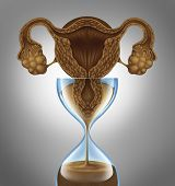 stock photo of ovary  - Female biological clock concept as a uterus and ovaries from the anatomy of a woman as falling sand in an hourglass as a metaphor for the anxiety stress - JPG