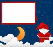 picture of crescent-shaped  - Crescent Moon in Christmas Night and Santa Claus - JPG