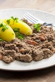 image of hash  - hash meat with bacon and potatoes - JPG