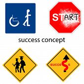 pic of universal sign  - creative design success concept from universal signs vector - JPG