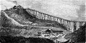 stock photo of mines  - A coal mine in Swansea vintage engraved illustration - JPG