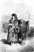 foto of beggar  - A centennial and her granddaughter beggar in Berja vintage engraved illustration - JPG