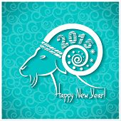 stock photo of goat horns  - Happy New year card with goat horn - JPG