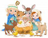 foto of baby goat  - Christmas nativity scene with holy family - JPG