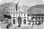 stock photo of medellin  - Cathedral of Medellin vintage engraved illustration - JPG