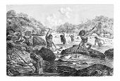 picture of spears  - Natives Spearing Fish Trapped in the Rocks in Oiapoque Brazil drawing by Riou from a sketch by Dr - JPG